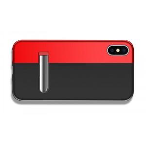 Металлический чехол на магнитах и встроенной ножкой-подставкой для Iphone x10/XS Черный