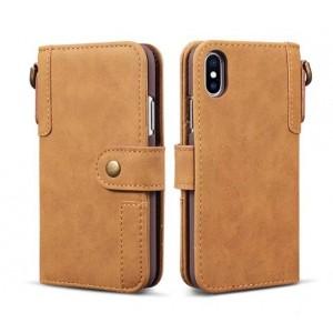 Чехол портмоне подставка с отсеком для карт на магнитной защелке для Iphone x10/XS Бежевый
