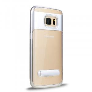 Двухкомпонентный силиконовый глянцевый транспарентный чехол с поликарбонатным бампером и встроенной ножкой-подставкой для Samsung Galaxy S7 Белый
