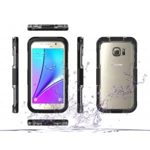 Антиударный пылевлагозащитный пластиковый полупрозрачный матовый чехол с поликарбонатной транспарентной верхней крышкой для Samsung Galaxy S7 Черный