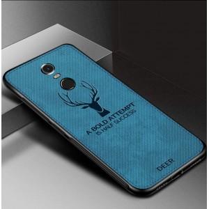 Силиконовый матовый непрозрачный чехол с декоративным тиснением и текстурным покрытием Джинса для Xiaomi RedMi Note 4X Синий