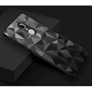 Силиконовый глянцевый непрозрачный чехол с текстурным покрытием Камень для Xiaomi RedMi Note 4X Черный