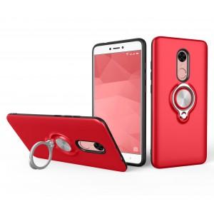 Противоударный двухкомпонентный силиконовый матовый непрозрачный чехол с поликарбонатными вставками экстрим защиты с встроенным кольцом-подставкой для Xiaomi RedMi Note 4X Красный