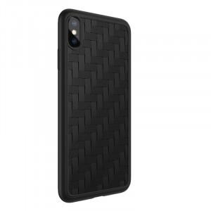 Силиконовый матовый непрозрачный чехол с текстурным покрытием Плетеная кожа для Iphone X/XS Черный