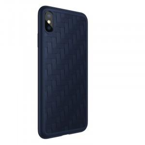 Силиконовый матовый непрозрачный чехол с текстурным покрытием Плетеная кожа для Iphone X/XS Синий