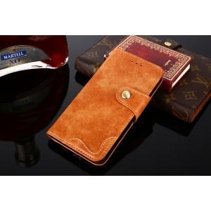 Винтажный чехол портмоне подставка на силиконовой основе с отсеком для карт на магнитной защелке для ASUS ZenFone Max Pro M2 Оранжевый