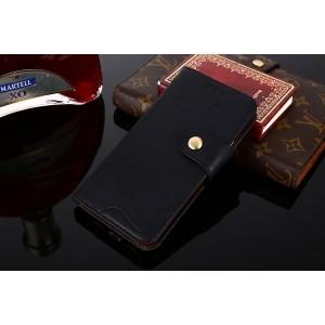 Винтажный чехол портмоне подставка на силиконовой основе с отсеком для карт на магнитной защелке для ASUS ZenFone Max Pro M2 Черный