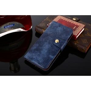 Винтажный чехол портмоне подставка на силиконовой основе с отсеком для карт на магнитной защелке для ASUS ZenFone Max Pro M2 Синий