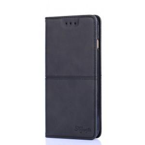 Чехол горизонтальная книжка подставка текстура Линии на силиконовой основе с отсеком для карт для ASUS ZenFone Max Pro M2  Черный