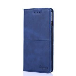 Чехол горизонтальная книжка подставка текстура Линии на силиконовой основе с отсеком для карт для ASUS ZenFone Max Pro M2  Синий