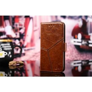 Винтажный чехол портмоне подставка на силиконовой основе с отсеком для карт и текстурным покрытием Линии на магнитной защелке для ASUS ZenFone Max Pro M2 Коричневый