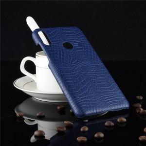 Пластиковый непрозрачный матовый чехол с текстурным покрытием Крокодил для ASUS ZenFone Max Pro M2 Синий