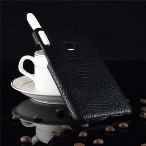 Пластиковый непрозрачный матовый чехол с текстурным покрытием Крокодил для ASUS ZenFone Max Pro M2 Черный
