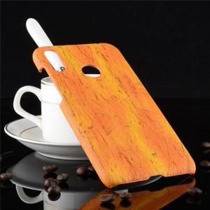 Пластиковый непрозрачный матовый чехол с текстурным покрытием Дерево для ASUS ZenFone Max Pro M2  Оранжевый