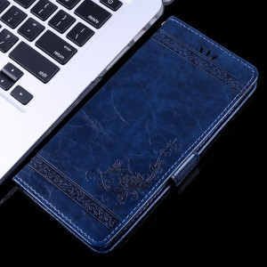 Чехол портмоне подставка текстура Узоры на силиконовой основе с отсеком для карт на магнитной защелке для ASUS ZenFone Max Pro M2  Синий