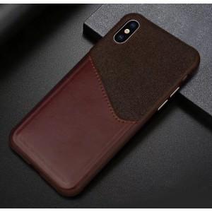 Силиконовый матовый непрозрачный чехол с текстурным покрытием Ткань и отсеком для карт для Iphone X/XS Коричневый
