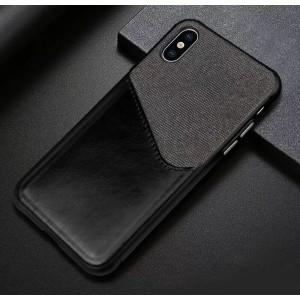 Силиконовый матовый непрозрачный чехол с текстурным покрытием Ткань и отсеком для карт для Iphone X/XS Черный