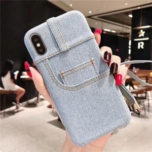 Силиконовый матовый непрозрачный дизайнерский фигурный чехол с карманом и текстурным покрытием Джинса для Iphone X/XS Голубой