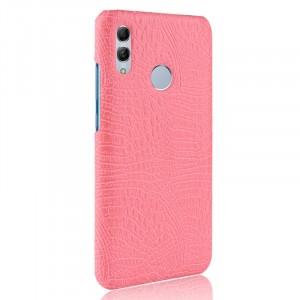 Пластиковый непрозрачный матовый чехол с текстурным покрытием Крокодил для Huawei P Smart 2019/Honor 10 Lite Розовый