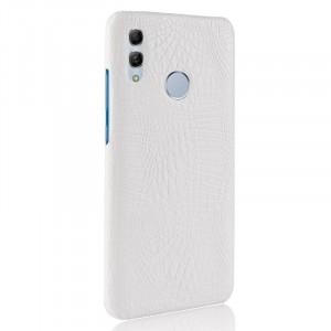 Пластиковый непрозрачный матовый чехол с текстурным покрытием Крокодил для Huawei P Smart 2019/Honor 10 Lite Белый