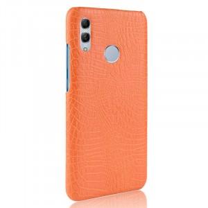 Пластиковый непрозрачный матовый чехол с текстурным покрытием Крокодил для Huawei P Smart 2019/Honor 10 Lite Оранжевый