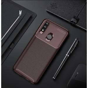 Силиконовый матовый непрозрачный чехол с текстурным покрытием Карбон для Huawei P Smart 2019/Honor 10 Lite Бордовый