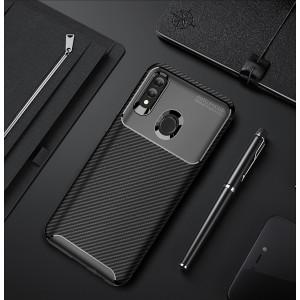 Силиконовый матовый непрозрачный чехол с текстурным покрытием Карбон для Huawei P Smart 2019/Honor 10 Lite Черный