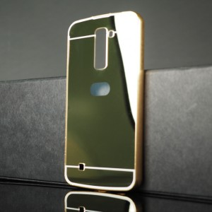 Двухкомпонентный чехол c металлическим бампером с поликарбонатной накладкой и зеркальным покрытием для LG K10 Бежевый
