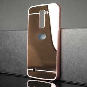 Двухкомпонентный чехол c металлическим бампером с поликарбонатной накладкой и зеркальным покрытием для LG K10 Розовый
