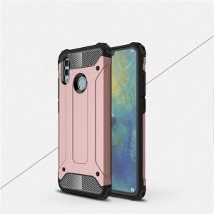 Противоударный двухкомпонентный силиконовый матовый непрозрачный чехол с поликарбонатными вставками экстрим защиты для Huawei P Smart 2019/Honor 10 Lite Розовый
