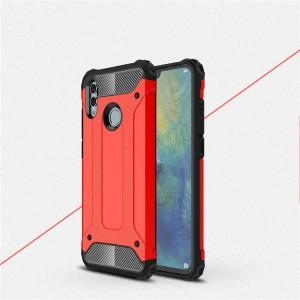 Противоударный двухкомпонентный силиконовый матовый непрозрачный чехол с поликарбонатными вставками экстрим защиты для Huawei P Smart 2019/Honor 10 Lite Красный
