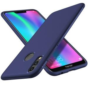 Силиконовый матовый непрозрачный чехол с текстурным покрытием Карбон для Huawei P Smart 2019/Honor 10 Lite Синий