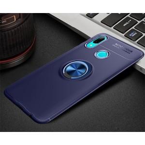 Силиконовый матовый непрозрачный чехол с встроенным кольцом-подставкой для Huawei P Smart 2019/Honor 10 Lite Синий