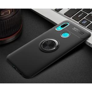 Силиконовый матовый непрозрачный чехол с встроенным кольцом-подставкой для Huawei P Smart 2019/Honor 10 Lite Черный