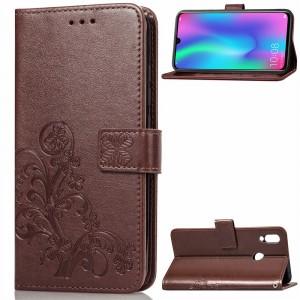 Чехол портмоне подставка текстура Узоры на силиконовой основе с отсеком для карт на магнитной защелке для Huawei P Smart 2019/Honor 10 Lite Коричневый