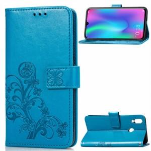 Чехол портмоне подставка текстура Узоры на силиконовой основе с отсеком для карт на магнитной защелке для Huawei P Smart 2019/Honor 10 Lite Синий
