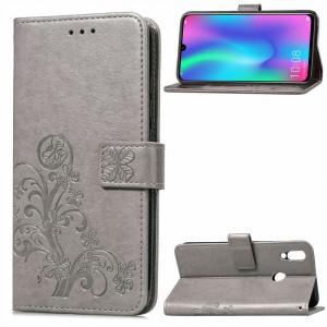 Чехол портмоне подставка текстура Узоры на силиконовой основе с отсеком для карт на магнитной защелке для Huawei P Smart 2019/Honor 10 Lite Серый