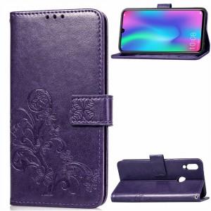 Чехол портмоне подставка текстура Узоры на силиконовой основе с отсеком для карт на магнитной защелке для Huawei P Smart 2019/Honor 10 Lite Фиолетовый