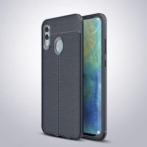 Силиконовый матовый непрозрачный чехол с текстурным покрытием Кожа для Huawei P Smart 2019/Honor 10 Lite Синий