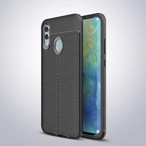 Силиконовый матовый непрозрачный чехол с текстурным покрытием Кожа для Huawei P Smart 2019/Honor 10 Lite Черный