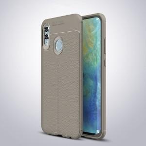 Силиконовый матовый непрозрачный чехол с текстурным покрытием Кожа для Huawei P Smart 2019/Honor 10 Lite Серый