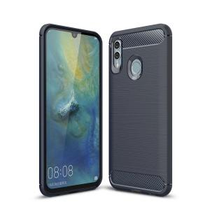 Силиконовый матовый непрозрачный чехол с текстурным покрытием Металлик для Huawei P Smart 2019/Honor 10 Lite Синий