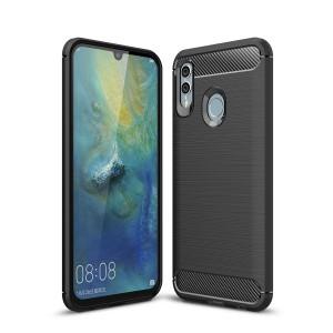 Силиконовый матовый непрозрачный чехол с текстурным покрытием Металлик для Huawei P Smart 2019/Honor 10 Lite Черный