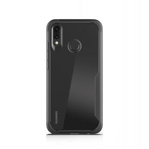 Силиконовый матовый непрозрачный чехол с транспарентной поликарбонатной накладкой для Huawei P Smart 2019/Honor 10 Lite Черный