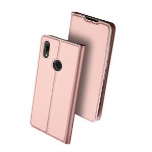 Чехол горизонтальная книжка подставка текстура Золото на силиконовой основе с отсеком для карт для Huawei P Smart 2019/Honor 10 Lite Розовый