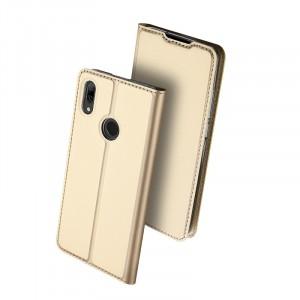 Чехол горизонтальная книжка подставка текстура Золото на силиконовой основе с отсеком для карт для Huawei P Smart 2019/Honor 10 Lite Бежевый