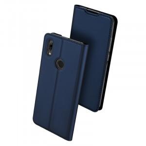 Чехол горизонтальная книжка подставка текстура Золото на силиконовой основе с отсеком для карт для Huawei P Smart 2019/Honor 10 Lite Синий