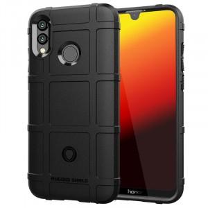 Силиконовый матовый непрозрачный чехол с текстурным покрытием Клетка для Huawei P Smart 2019/Honor 10 Lite Черный