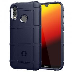 Силиконовый матовый непрозрачный чехол с текстурным покрытием Клетка для Huawei P Smart 2019/Honor 10 Lite Синий