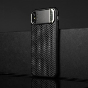 Пластиковый непрозрачный матовый чехол с подставкой и улучшенной защитой элементов корпуса для Iphone X 10/XS Черный